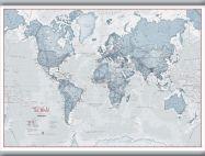 Medium The World Is Art - Wall Map Teal (Hanging bars)