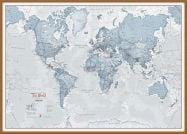 Large The World Is Art - Wall Map Teal (Wood Frame - Teak)