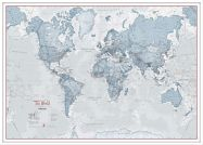 Large The World Is Art - Wall Map Teal (Wood Frame - White)