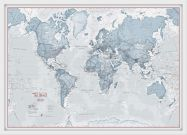 Small The World Is Art - Wall Map Teal (Wood Frame - White)