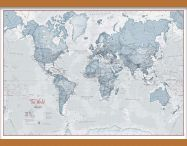 Medium The World Is Art - Wall Map Teal (Wooden hanging bars)