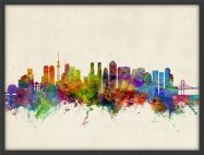 Medium Tokyo Japan Watercolour Skyline (Pinboard & wood frame - Black)