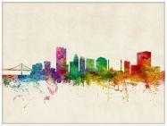 Large Toledo Ohio Watercolour Skyline (Pinboard & wood frame - White)