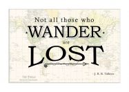 Travel Quote Map Print 'Not all those who wander...'