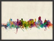 Medium Tulsa Oklahoma Watercolour Skyline (Pinboard & wood frame - Black)