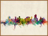 Large Tulsa Oklahoma Watercolour Skyline (Pinboard & wood frame - Teak)