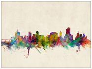 Large Tulsa Oklahoma Watercolour Skyline (Wood Frame - White)