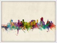 Medium Tulsa Oklahoma Watercolour Skyline (Pinboard & wood frame - White)