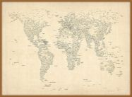 Large Typography World Map of Cities (Pinboard & wood frame - Teak)