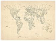 Large Typography World Map of Cities (Wood Frame - White)