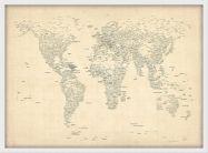 Medium Typography World Map of Cities (Wood Frame - White)