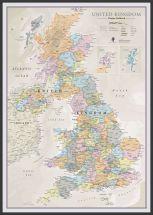 Large UK Classic Wall Map (Wood Frame - Black)