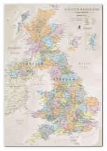 Large UK Classic Wall Map (Canvas)
