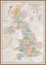Large UK Classic Wall Map (Wood Frame - Teak)