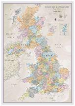 Large UK Classic Wall Map (Wood Frame - White)