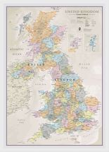 Medium UK Classic Wall Map (Wood Frame - White)