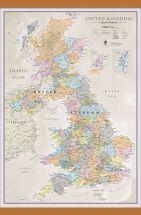 Medium UK Classic Wall Map (Wooden hanging bars)