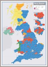 Large UK Parliamentary Constituency Boundary Wall Map (December 2019 results) (Pinboard & framed - Silver)