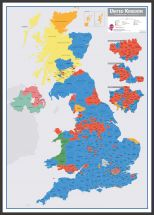 Large UK Parliamentary Constituency Boundary Wall Map (December 2019 results) (Pinboard & wood frame - Black)