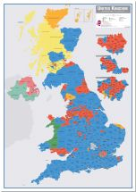 Huge UK Parliamentary Constituency Boundary Wall Map (December 2019 results) (Pinboard)