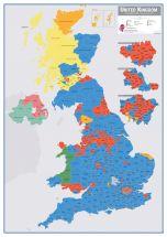Huge UK Parliamentary Constituency Boundary Wall Map (December 2019 results) (Raster digital)