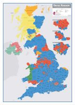 Large UK Parliamentary Constituency Boundary Wall Map (December 2019 results) (Wood Frame - White)