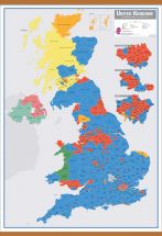 Large UK Parliamentary Constituency Boundary Wall Map (December 2019 results) (Wooden hanging bars)
