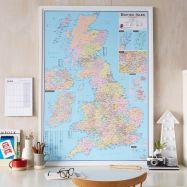Large British Isles Administrative Map (Wood Frame - White)