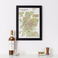 Scratch Off Scotland Whisky Distilleries Print (Pinboard & wood frame - Black)