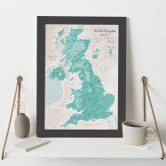UK as Art Map - Tarragon (Wood Frame - Black)