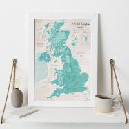 UK as Art Map - Tarragon (Wood Frame - White)
