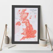 UK as Art Map - Gravlax (Wood Frame - Black)
