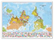 Large Upside-down World Wall Map Political with flags  (Canvas)