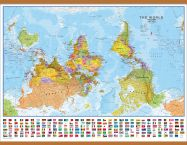 Huge Upside-down World Wall Map Political with flags  (Wooden hanging bars)