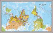 Huge Upside Down World Wall Map Political (Pinboard & framed - Silver)