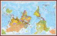 Huge Upside Down World Wall Map Political (Pinboard & framed - Dark Oak)
