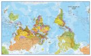Huge Upside Down World Wall Map Political (Magnetic board and frame)
