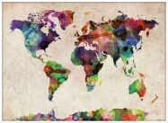 Large Urban Watercolor Map of the World (Wood Frame - White)