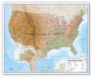 Large USA Wall Map Physical (Canvas)