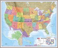 Large USA Wall Map Political (Pinboard & framed - Silver)