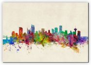 Small Vancouver Canada Watercolour Skyline (Canvas)