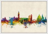 Medium Venice Watercolour Skyline (Wood Frame - White)
