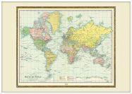 Large Vintage Bartholomew Political World Map 1914 (Pinboard & wood frame - White)