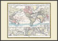 Large Vintage British Empire World Map 1896 (Wood Frame - Black)
