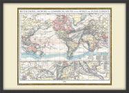 Medium Vintage British Empire World Map 1896 (Pinboard & wood frame - Black)