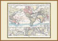 Large Vintage British Empire World Map 1896 (Pinboard & wood frame - Teak)