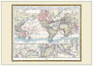 Large Vintage British Empire World Map 1896 (Wood Frame - White)
