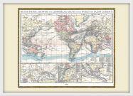 Medium Vintage British Empire World Map 1896 (Pinboard & wood frame - White)