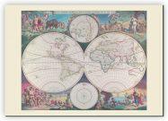 Small Vintage Double Hemisphere World Map 1689 (Canvas)
