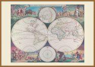 Large Vintage Double Hemisphere World Map 1689 (Pinboard & wood frame - Teak)